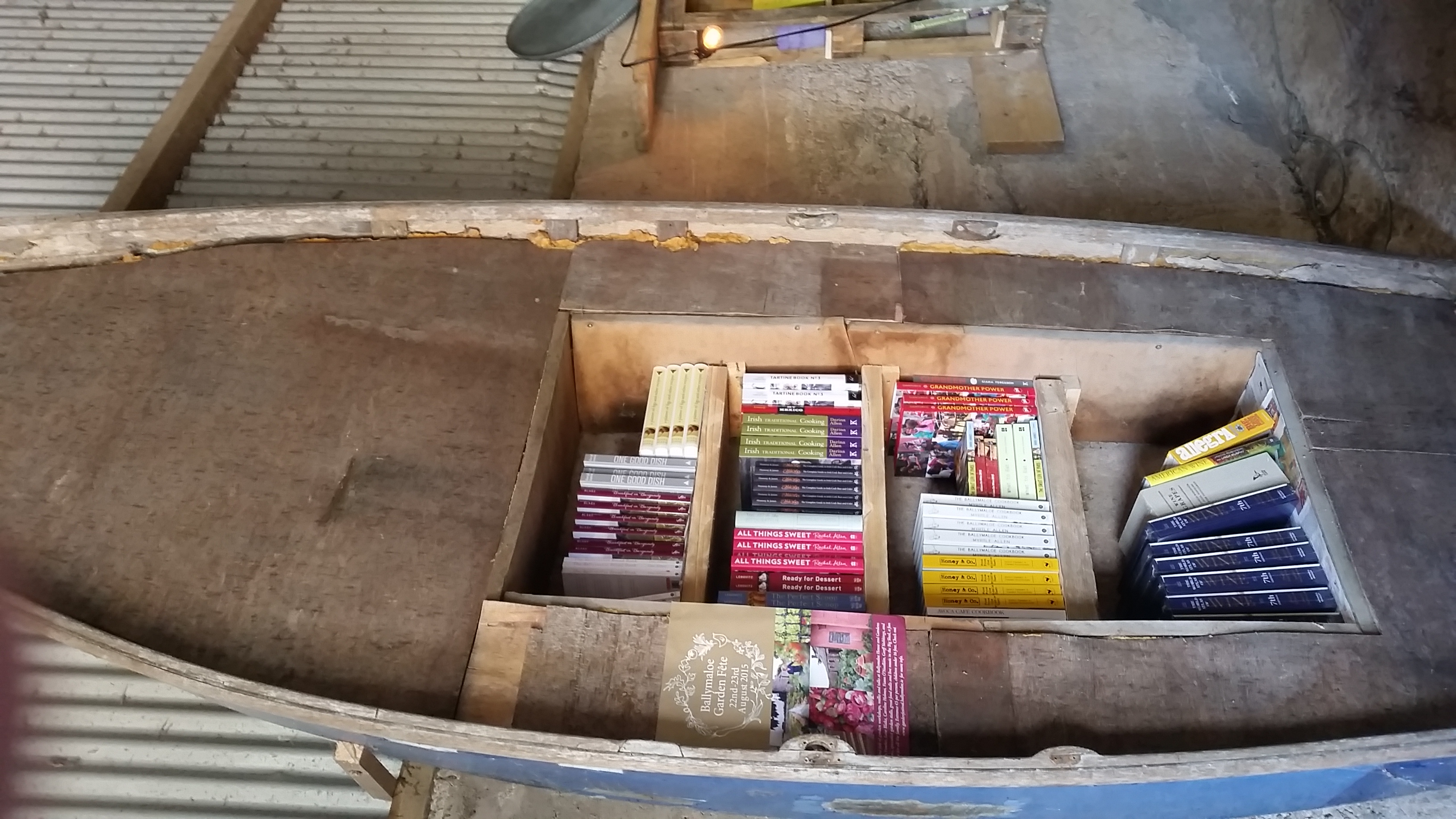Books in a boat, as you do, in the book shop!