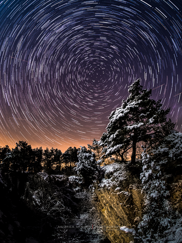 Star trails in Fondry des Chiens (Belgium). 60 exposures each 30-seconds long have been combined to cover 30 minutes of night time.