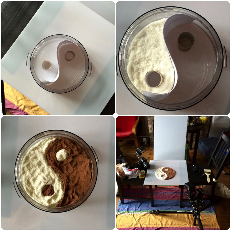 The process of making and photographing a chocoholic version of the Yin and Yang symbol.