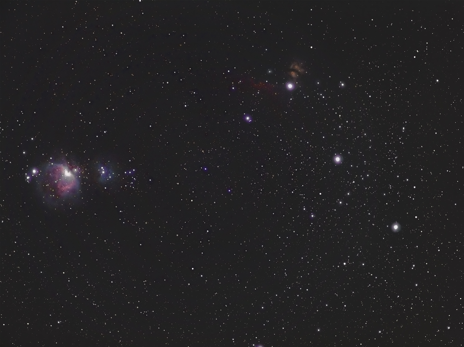 Orion Belt. The Great Orion, Running Mane, Flame and Horsehead Nebulae.