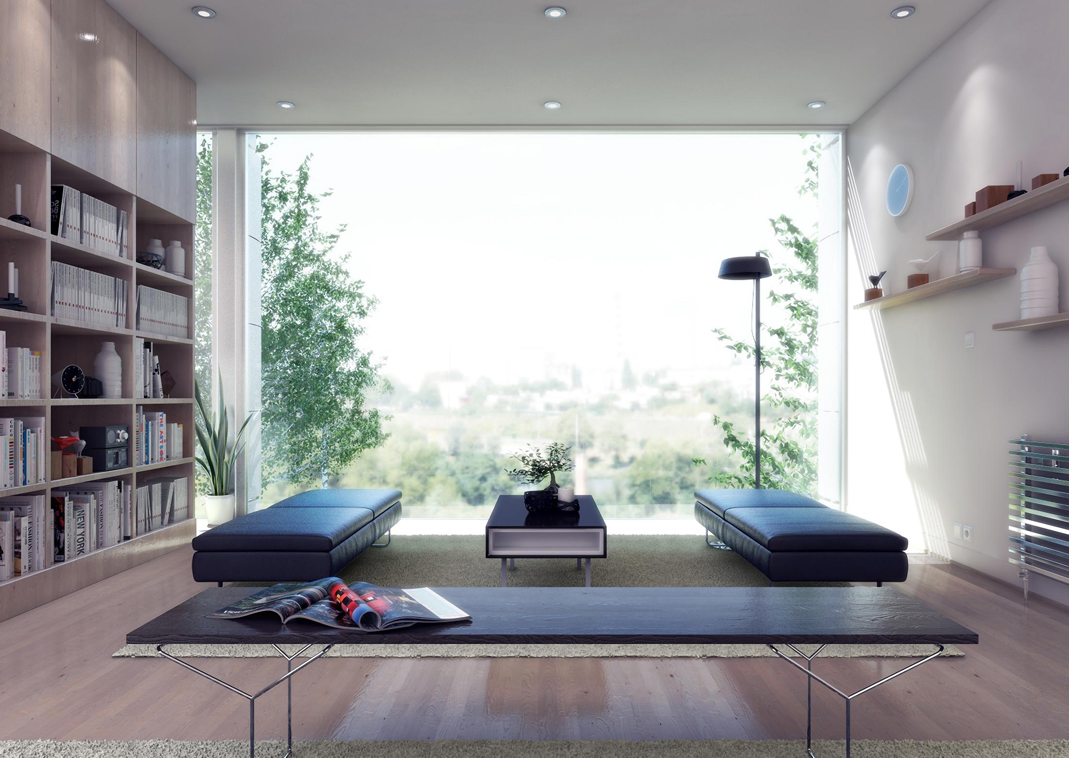 INTERIOR Arriba: Living. Abajo: Librería