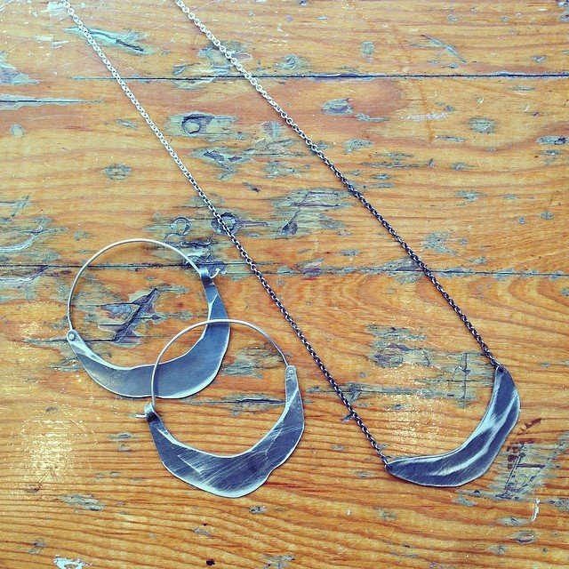 Crescent Moon Pendant and Hoops blackened silver