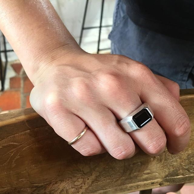 Silver and black spinel, men's signet ring, just for fun!