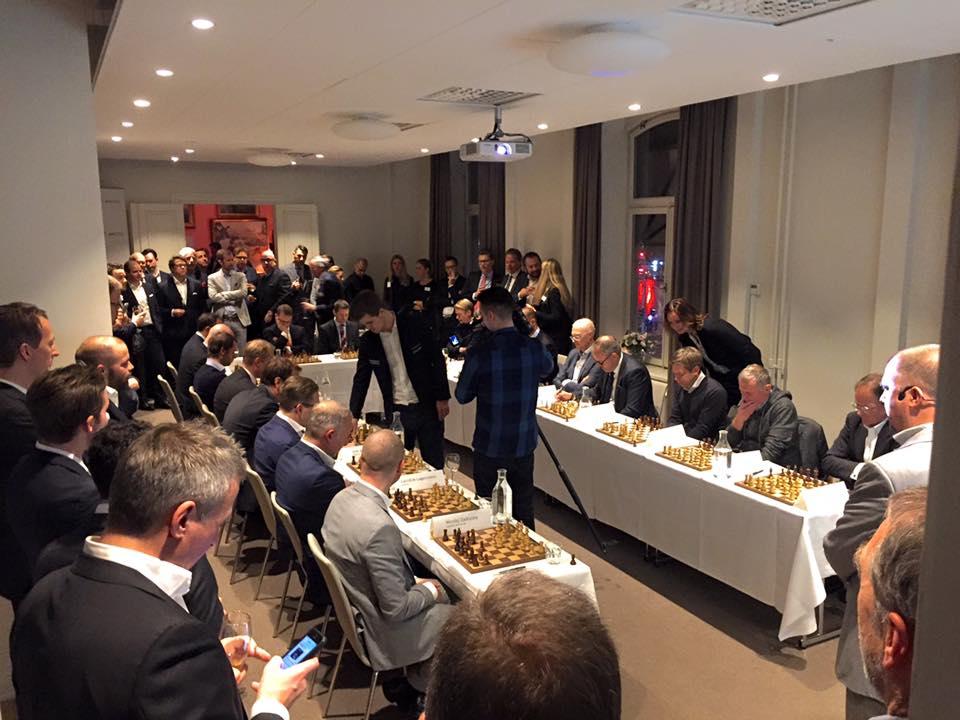18 sharp minds Vs Magnus Carlsen (World champion in chess), Magnus won.