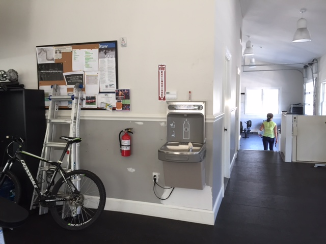 The water bottle station at Row America Rye.