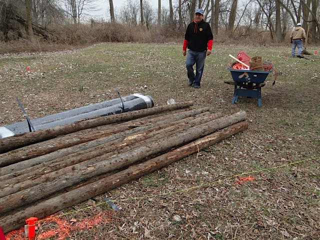 The poles are delivered for the garden fence