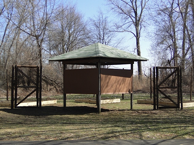 A view of the kiosk before the panels were installed