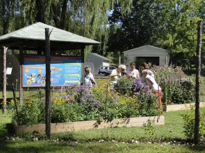 Visitors enjoying the Pollinator Garden