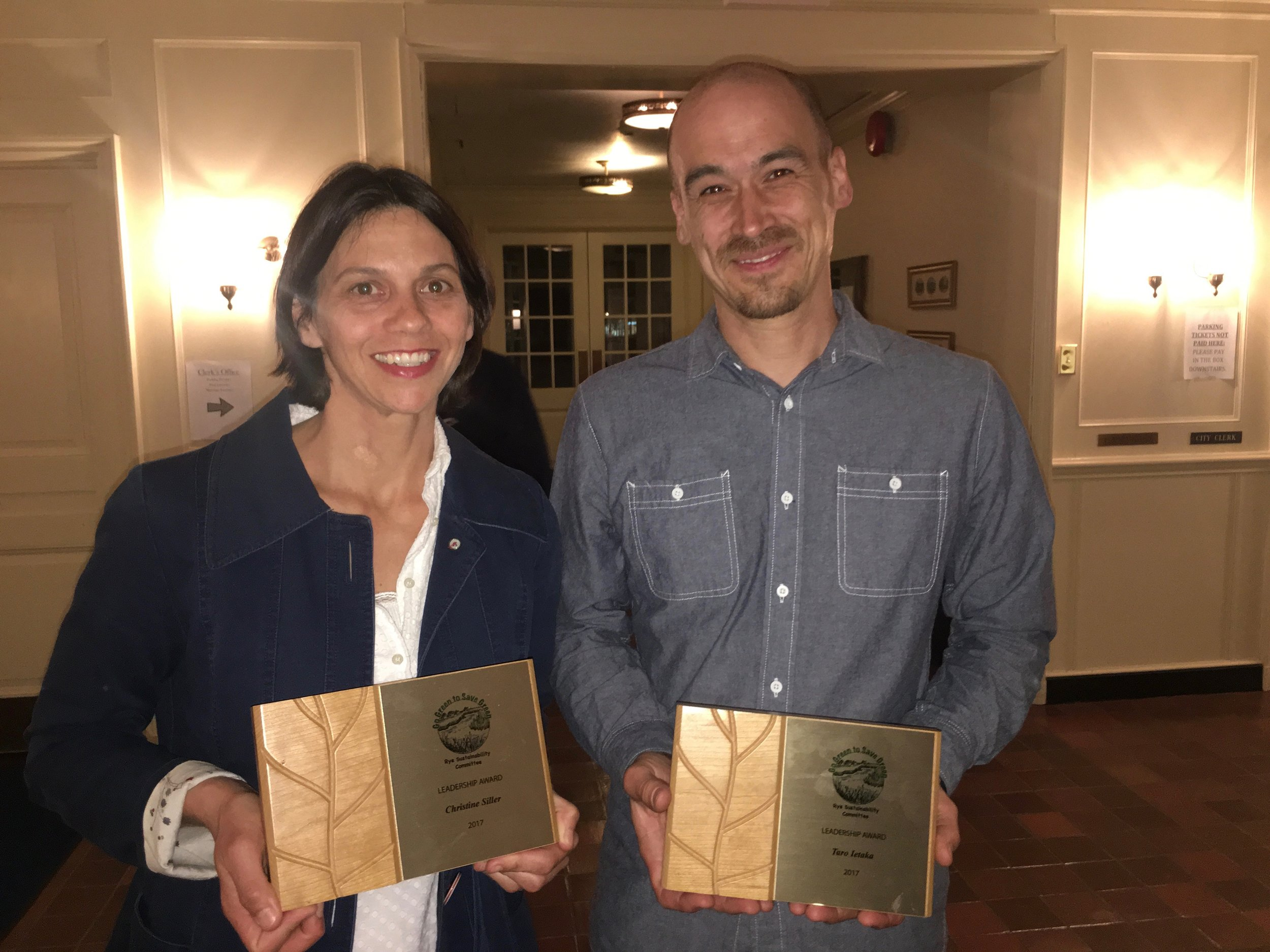 2017 Rye Sustainability Leadership Award winners Christine Siller and Taro Ietaka