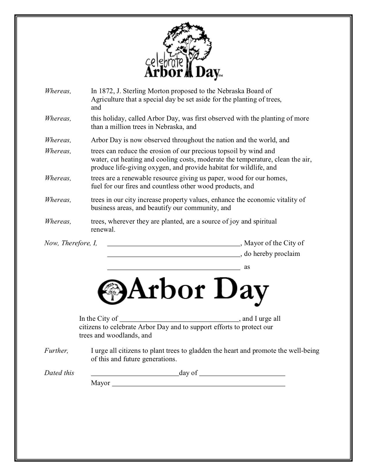 Arbor Day Proclamation