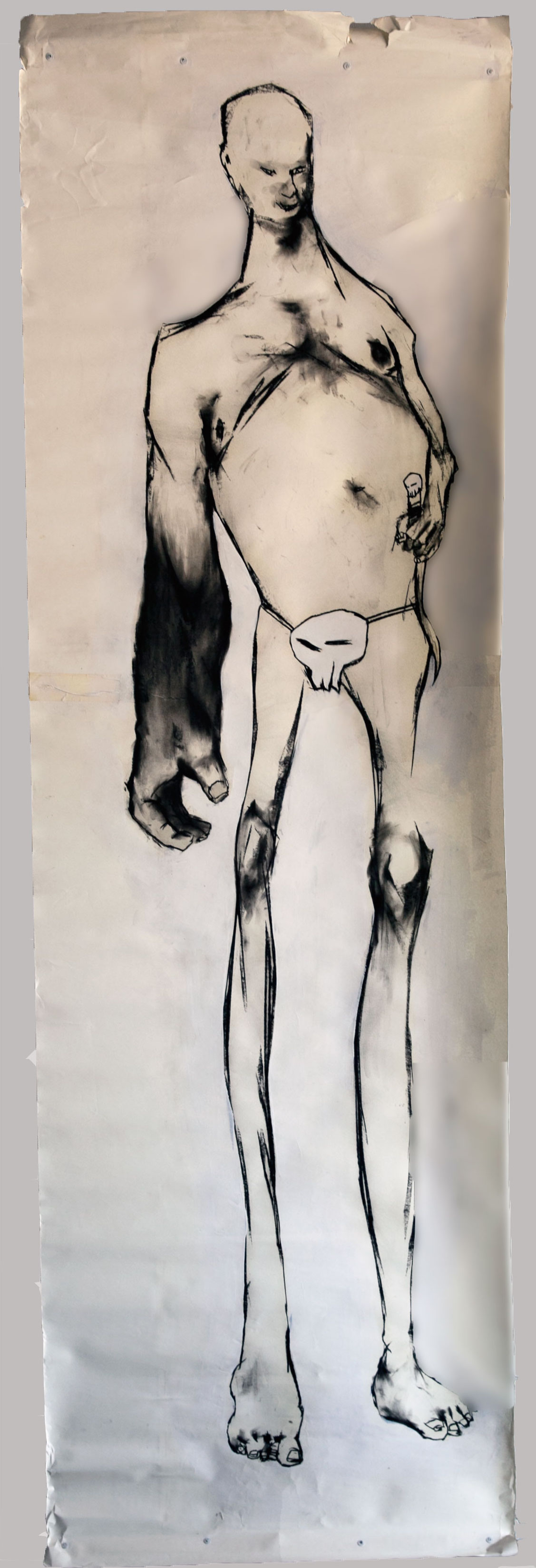 Roy -  charcoal and latex on paper 3'x8'