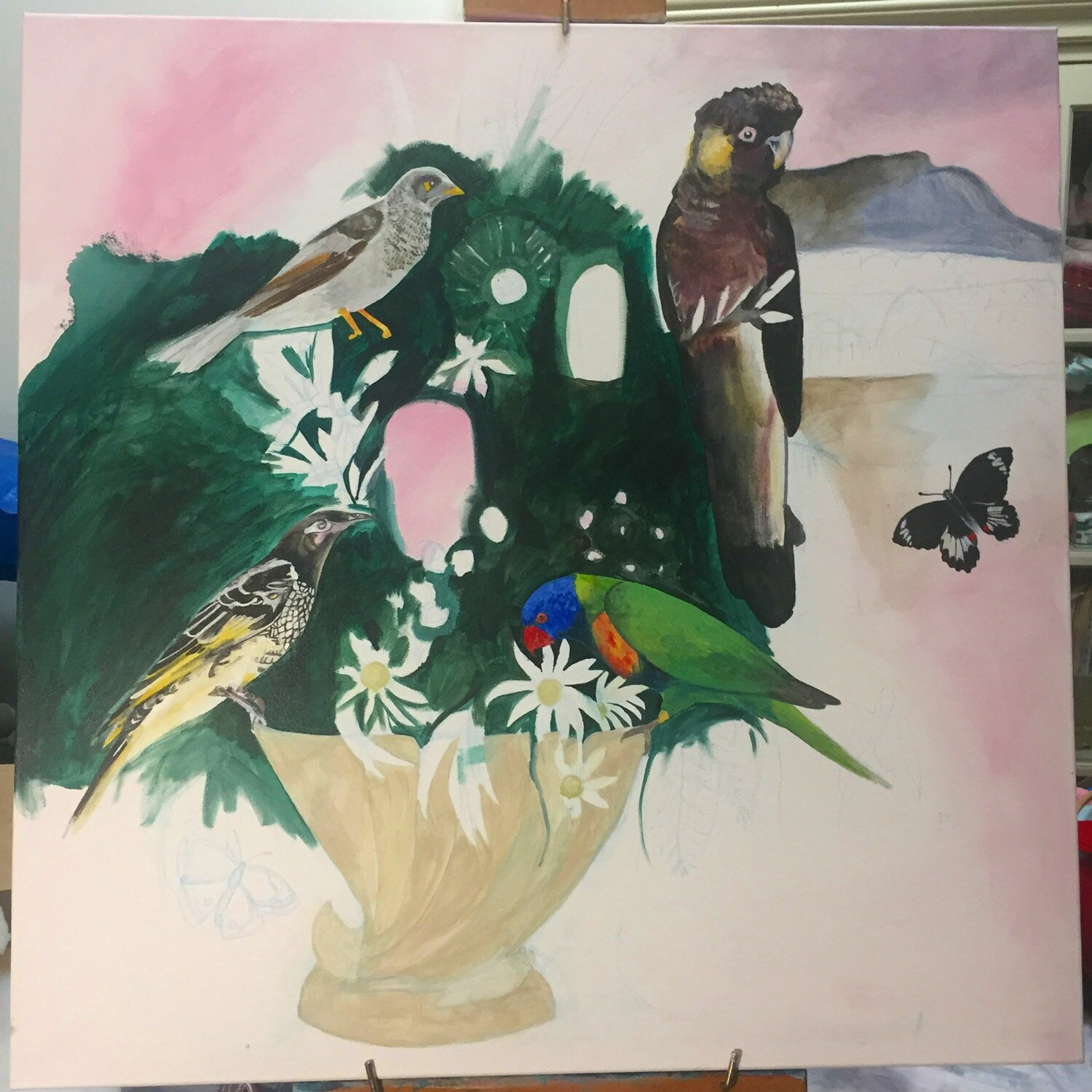Work in progress for my Hunter Bouquet painting.