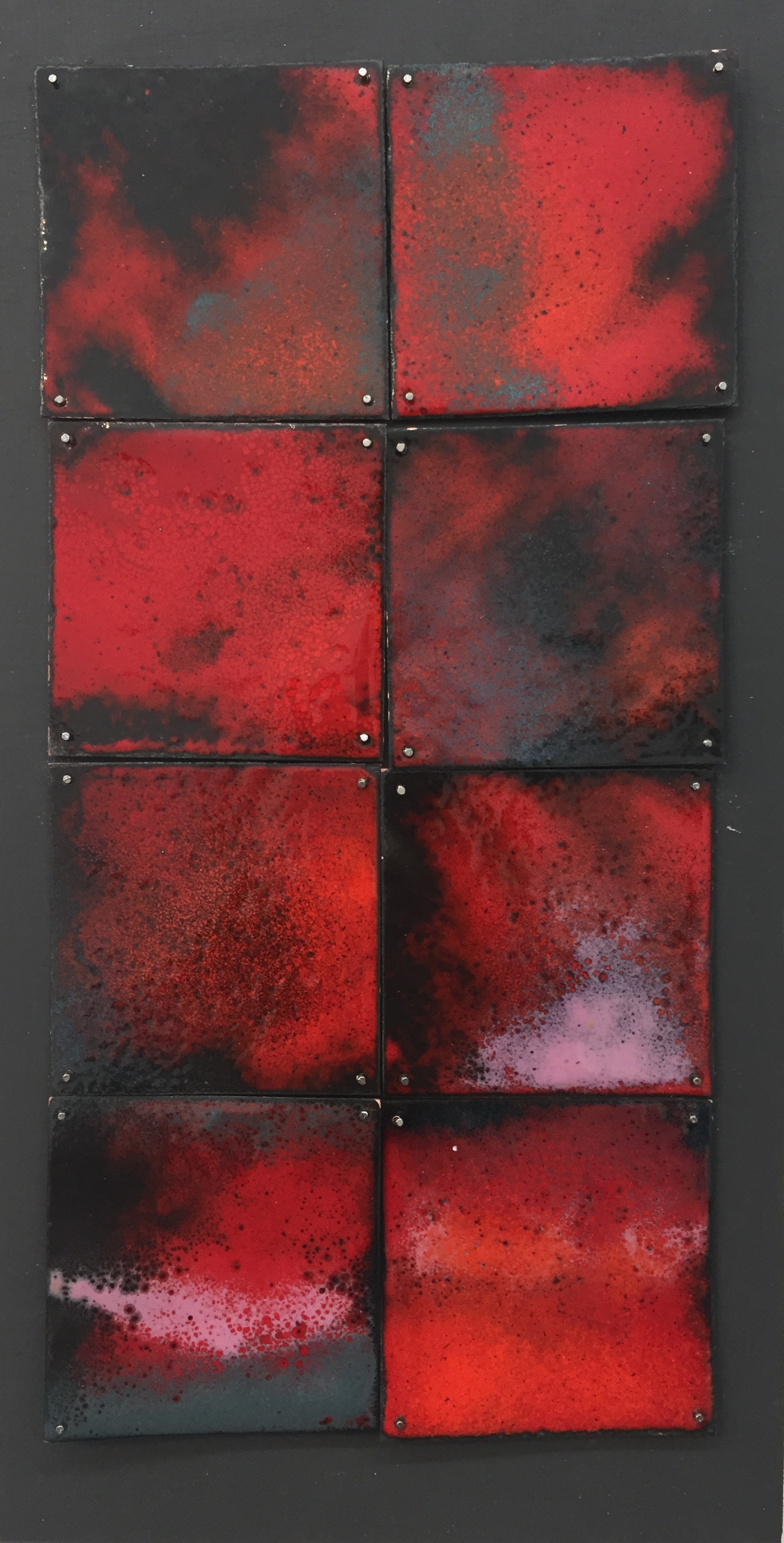 "Red Study   kiln     enamel on copper 6""x 10"" 2018"