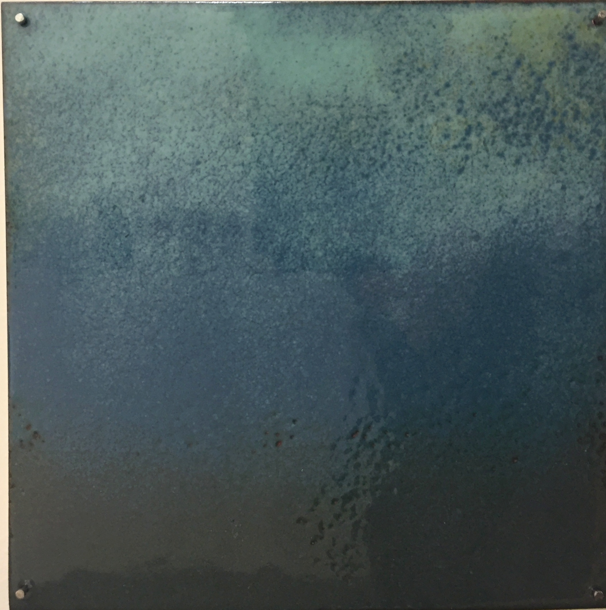 "Blue Horizon Study   kiln     enamel on copper 3""x 3"" 2018"