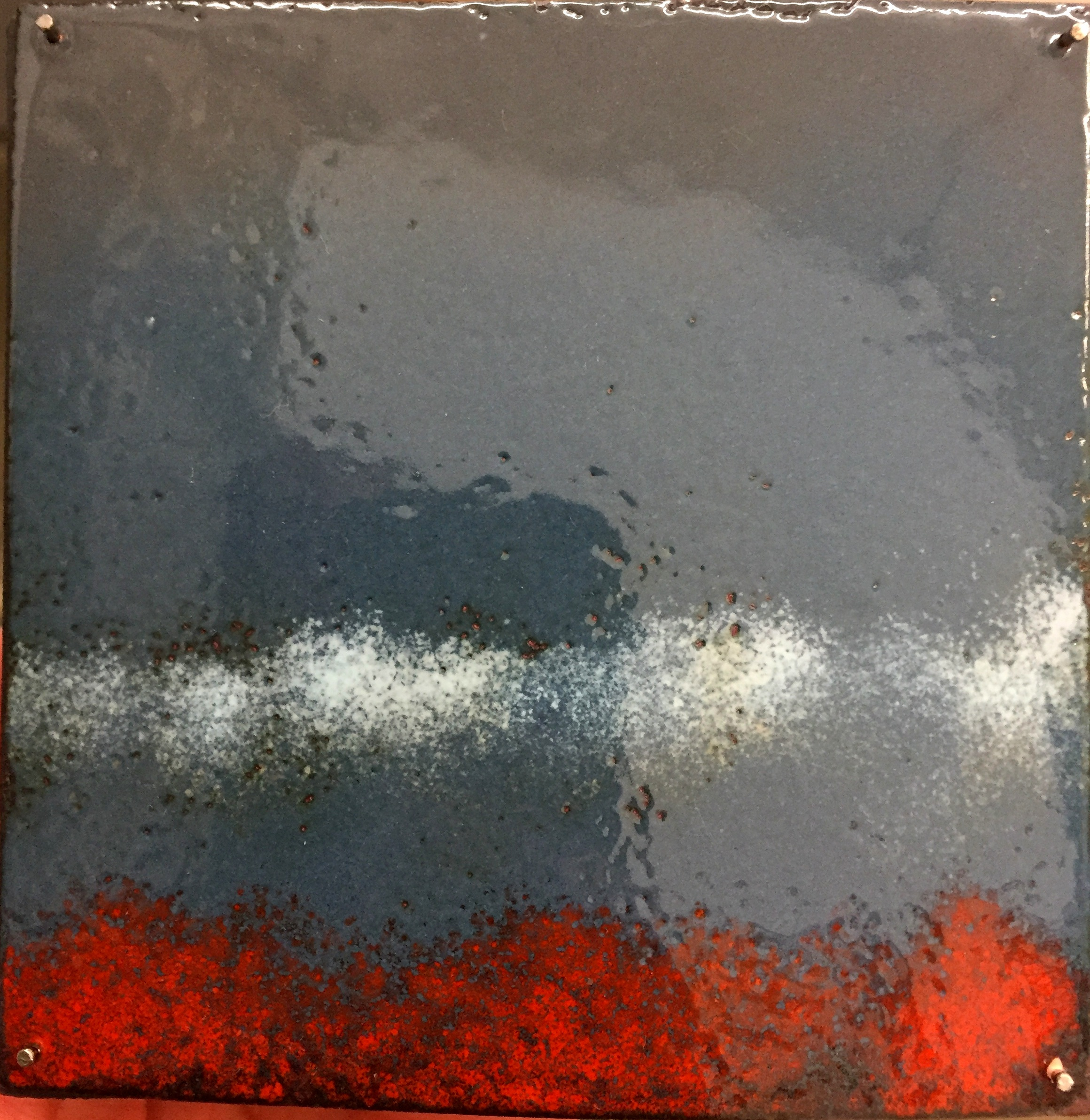 "Horizon Study Low Clouds   kiln fire enamel on copper 3""x 3"" 2018"