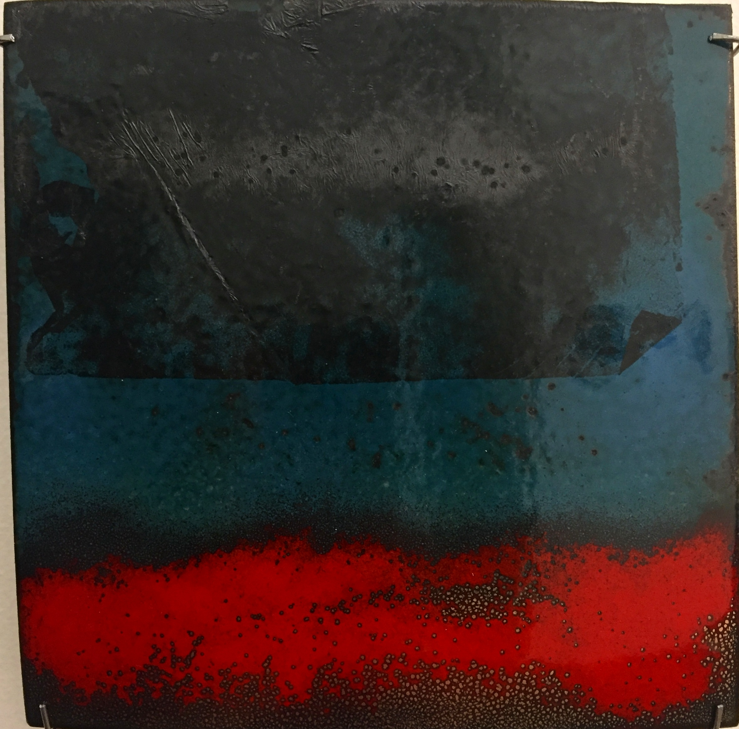 "Horizon Abstract   kiln fired enamel on copper 6'x 6"" 2018"