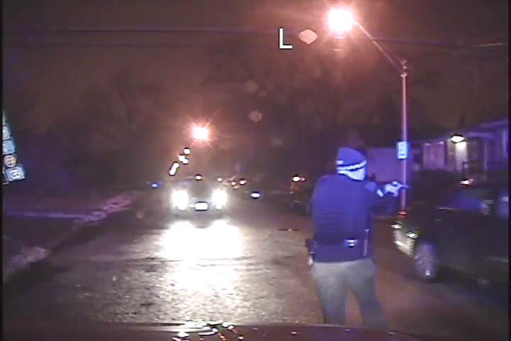 Chicago Police Department dashboard camera footage shows an officer opening fire on unarmed teenagers in a moving vehicle.