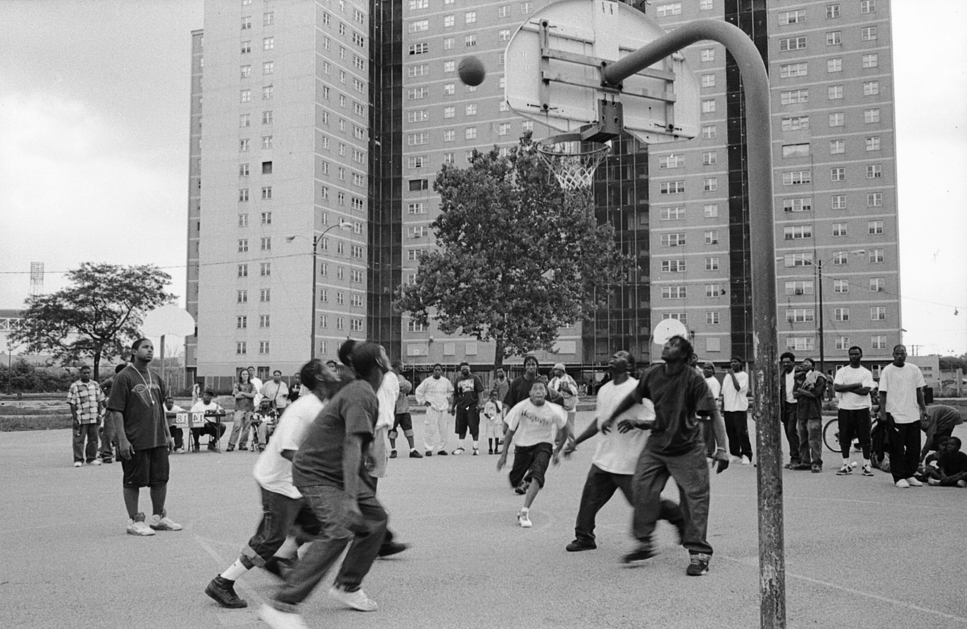 Basketball tournament organized by young men at Stateway Gardens.  PHOTO BY PATRICIA EVANS