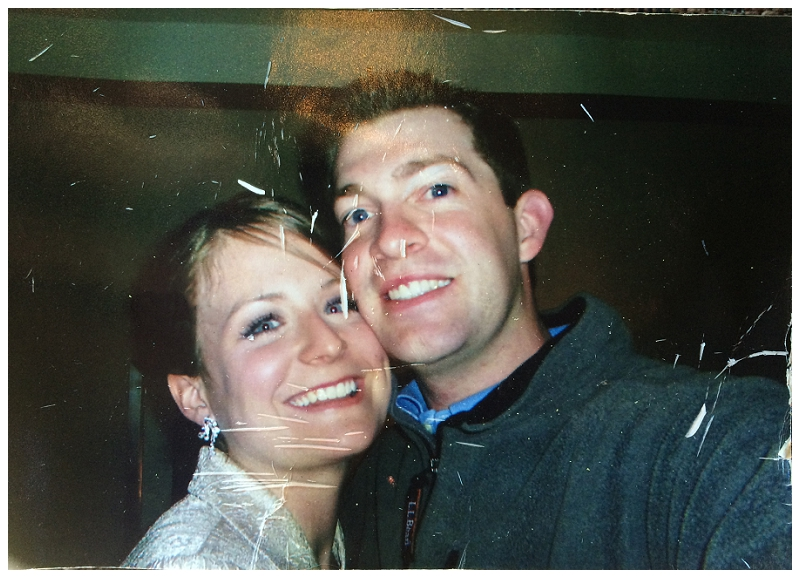 This is one of my favorite pictures of us; so much it has stayed in the truck for 9 years. It was right as we had arrived to our hotel in Atlanta from the wedding. I was amazed at how many hair pins were packed into Meg's hair, they just kept coming.