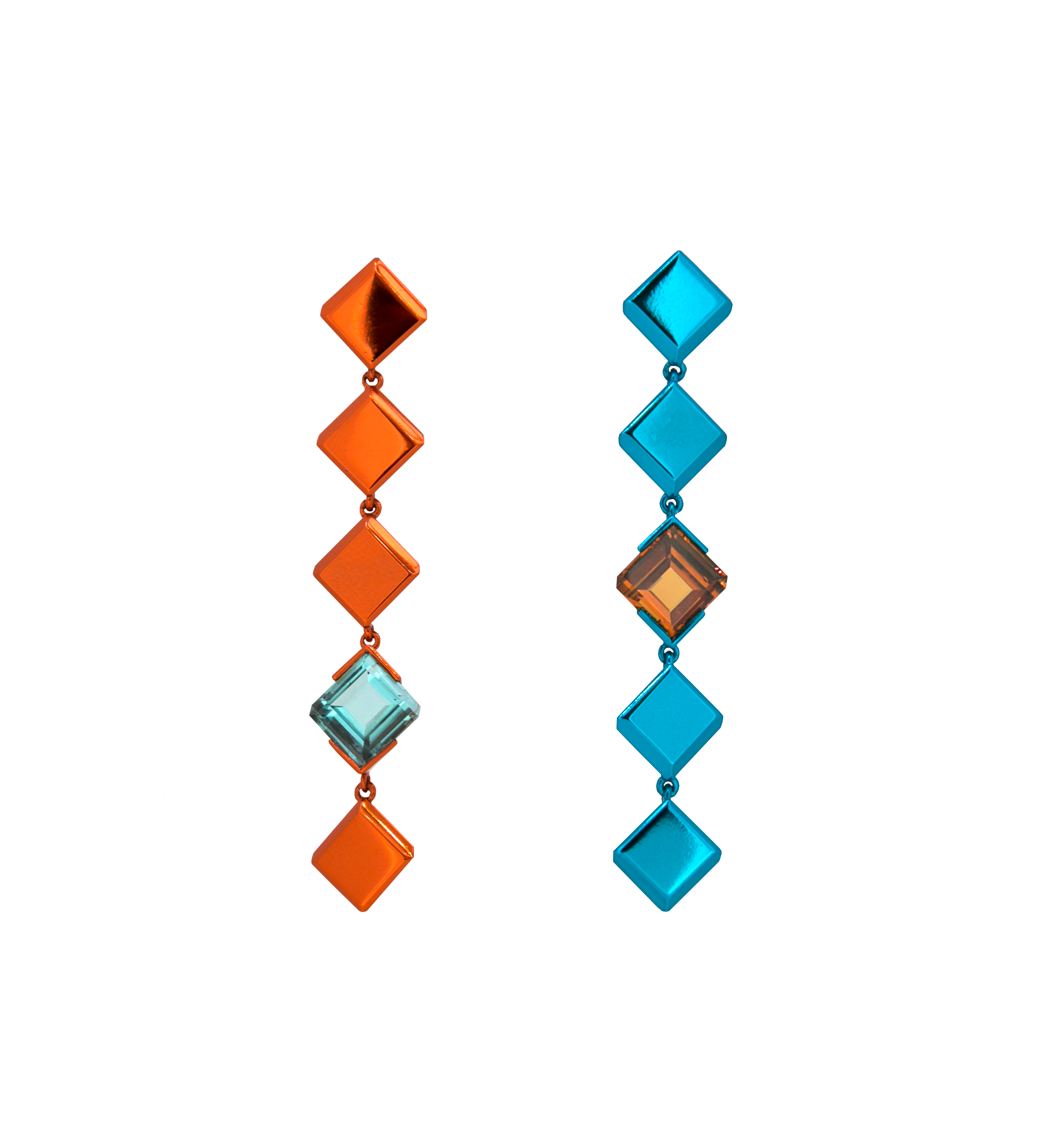 Chromanteq 18ct Recycled White Gold, Orange and Blue Nano Ceramic Plated Drop Earrings with 2.12ct Afghan Tourmaline and 2.82ct Mandarin Garnet