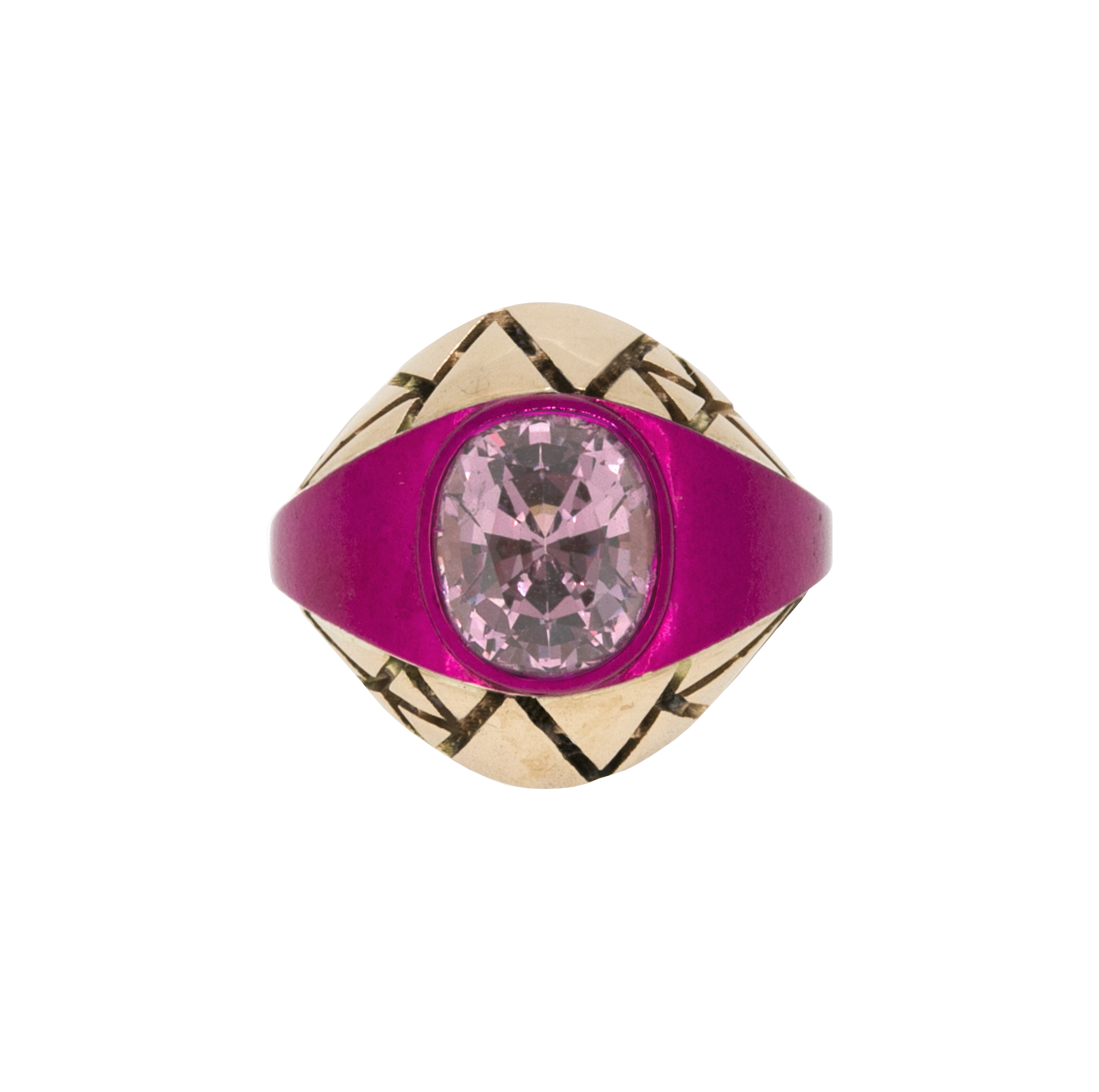 Chromanteq 9ct Recycled Rose Gold, Pink Nano Ceramic Plated Ring with 2.74ct Lilac Myanmar Spinel
