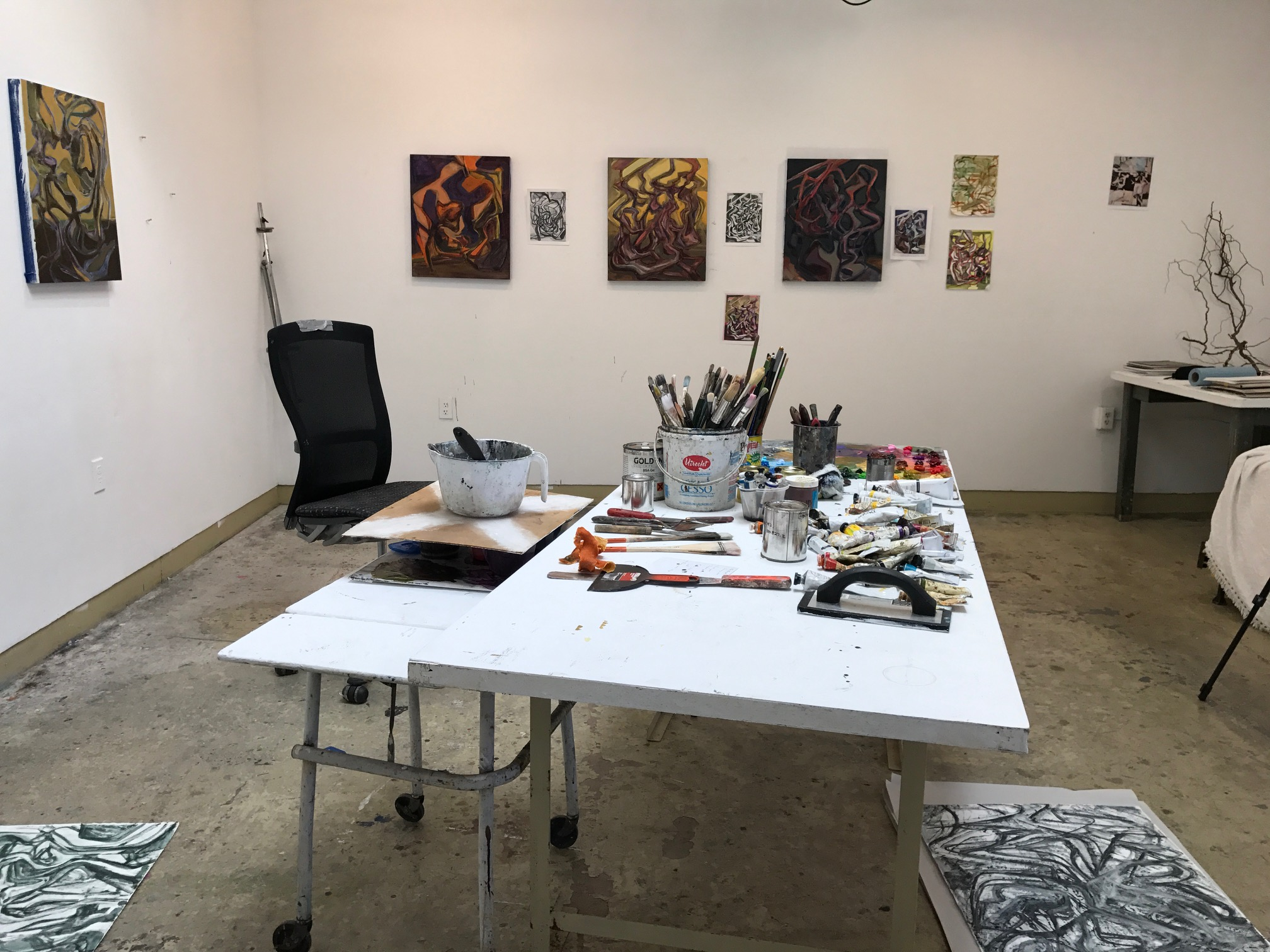 Some of Chris McEvoy's work displayed around his studio