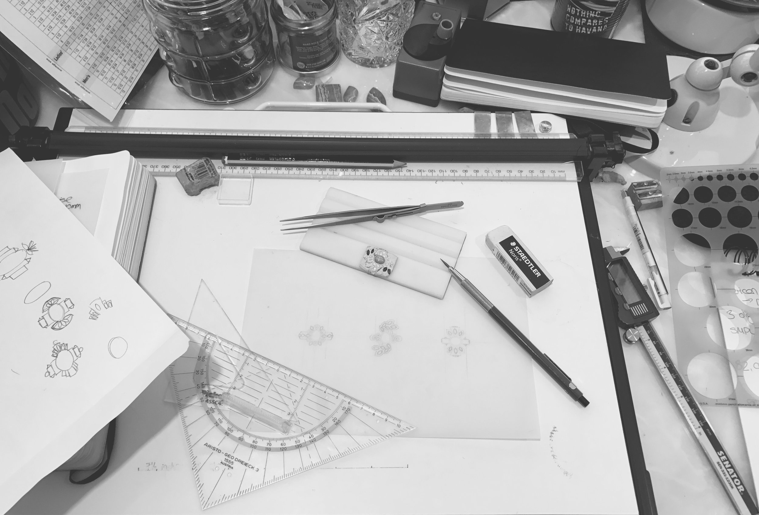 The technical drawings with ideas for the design