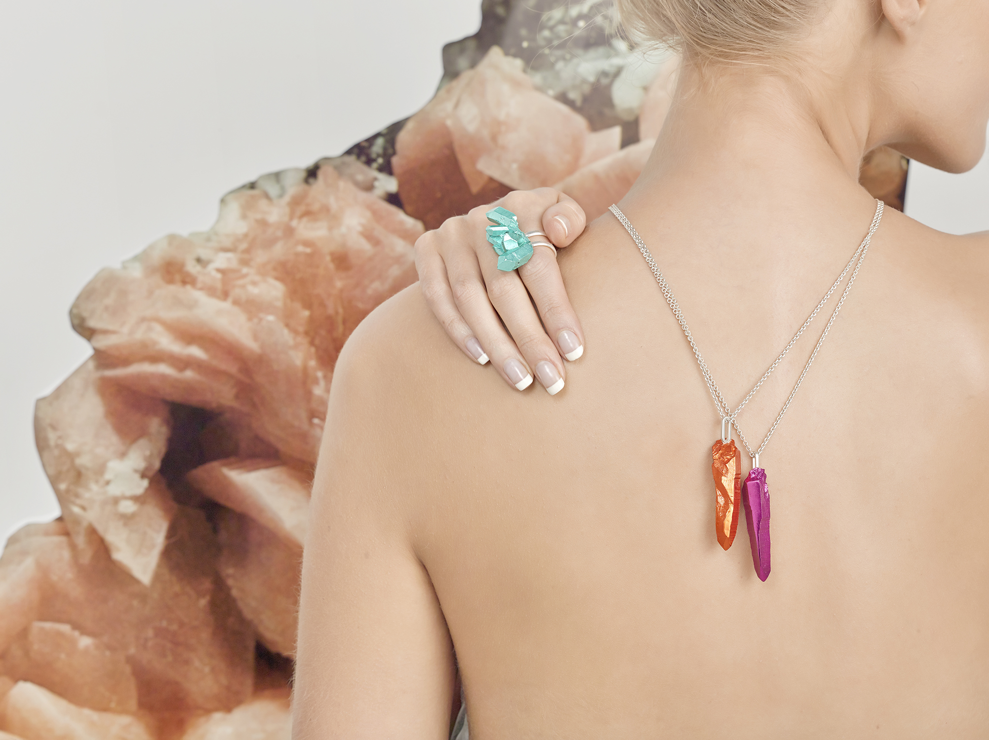 HotRocks Trigonal Large Cluster Ring in Turquoise and Pendants in Orange and Pink Low Res.jpg