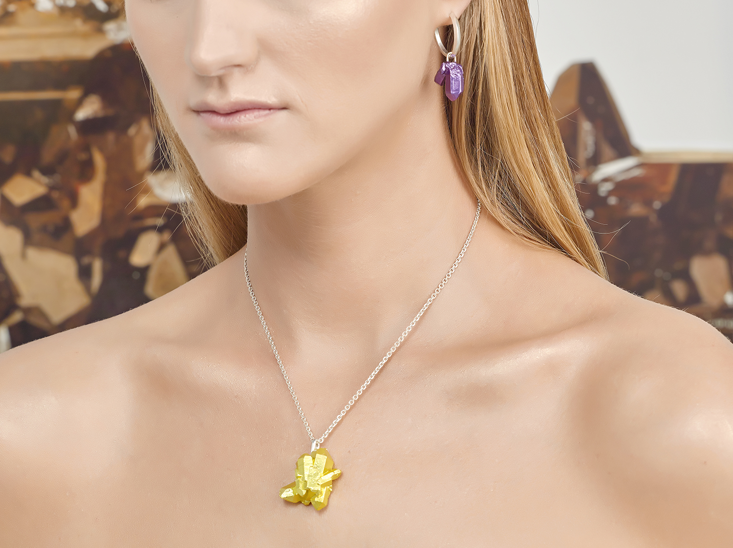 HotRocks Trigonal Pendant in Yellow and Hoop Earring in Purple Earrings Low Res.jpg