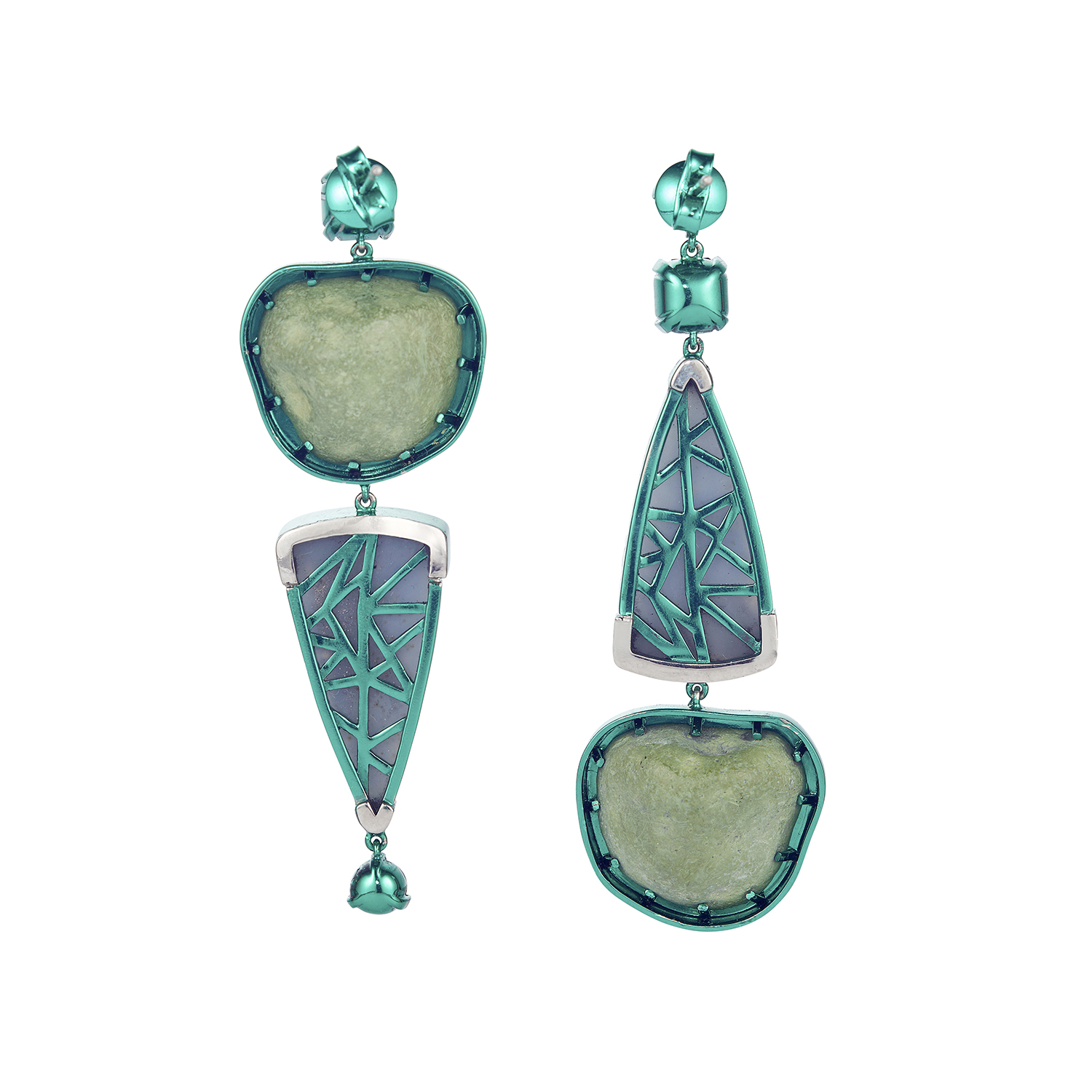 Chromanteq Geode Spessartite and Druzy Earrings Back.jpg