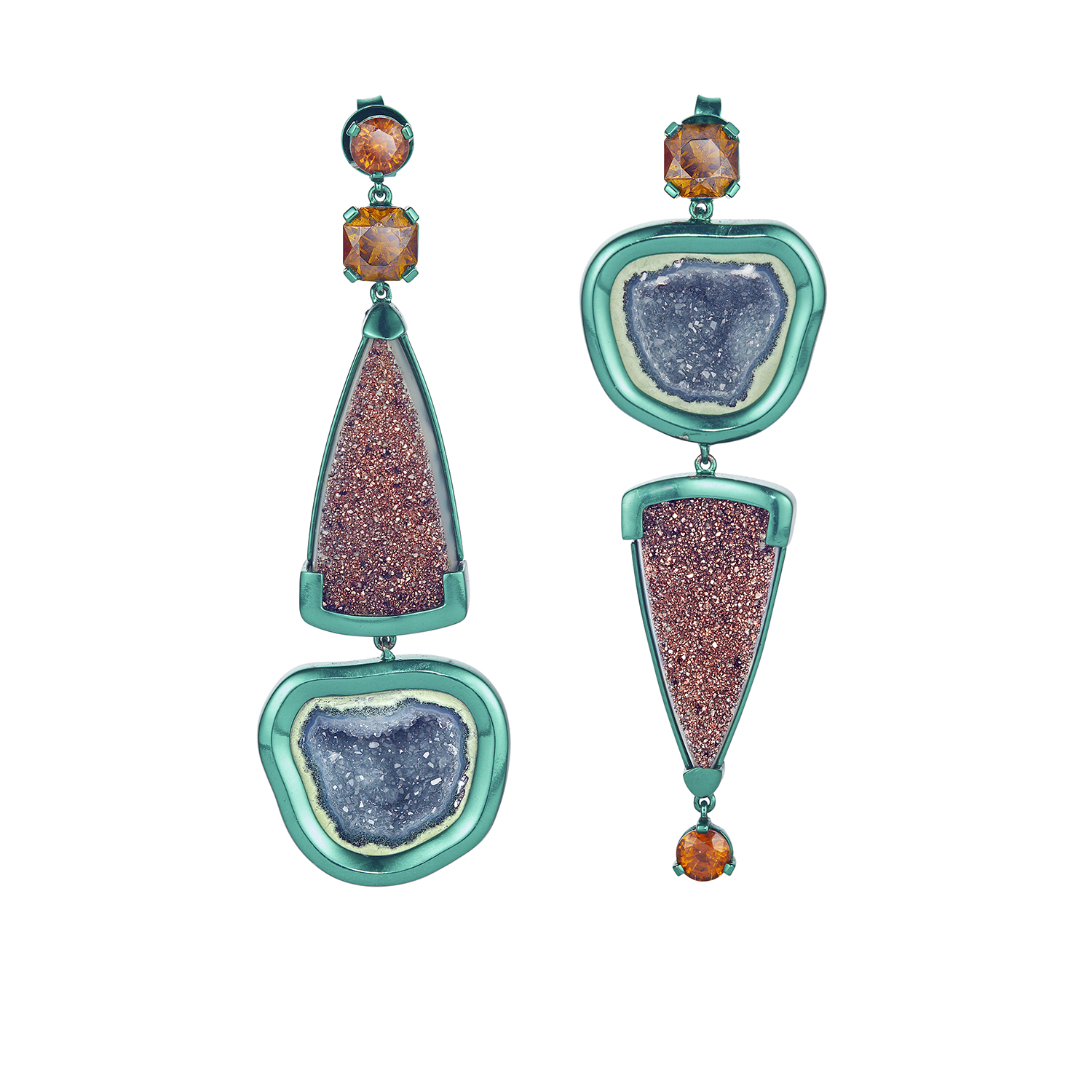 Chromanteq Geode Spessartite and Druzy Earrings.jpg