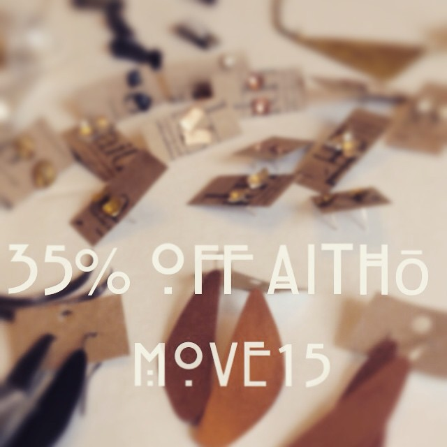 Let's get moving! Use code MOVE15 to receive 35% off all items in the Aithō shop until 5/5/15 #sale #promocode #prettyshinythings #handmadejewelry #etsy #oneofakind #treatyoself