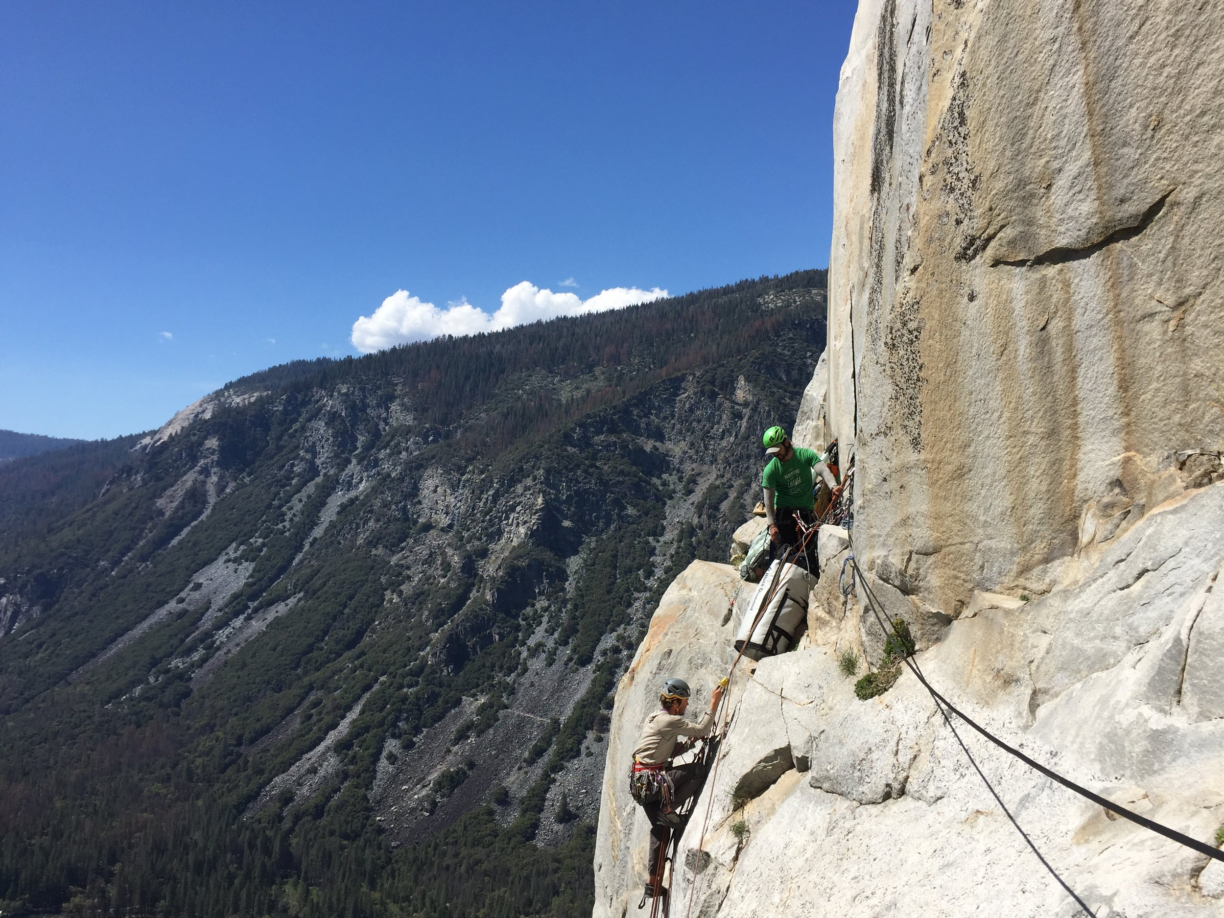 Riley making it to Ahwahnee Ledge.