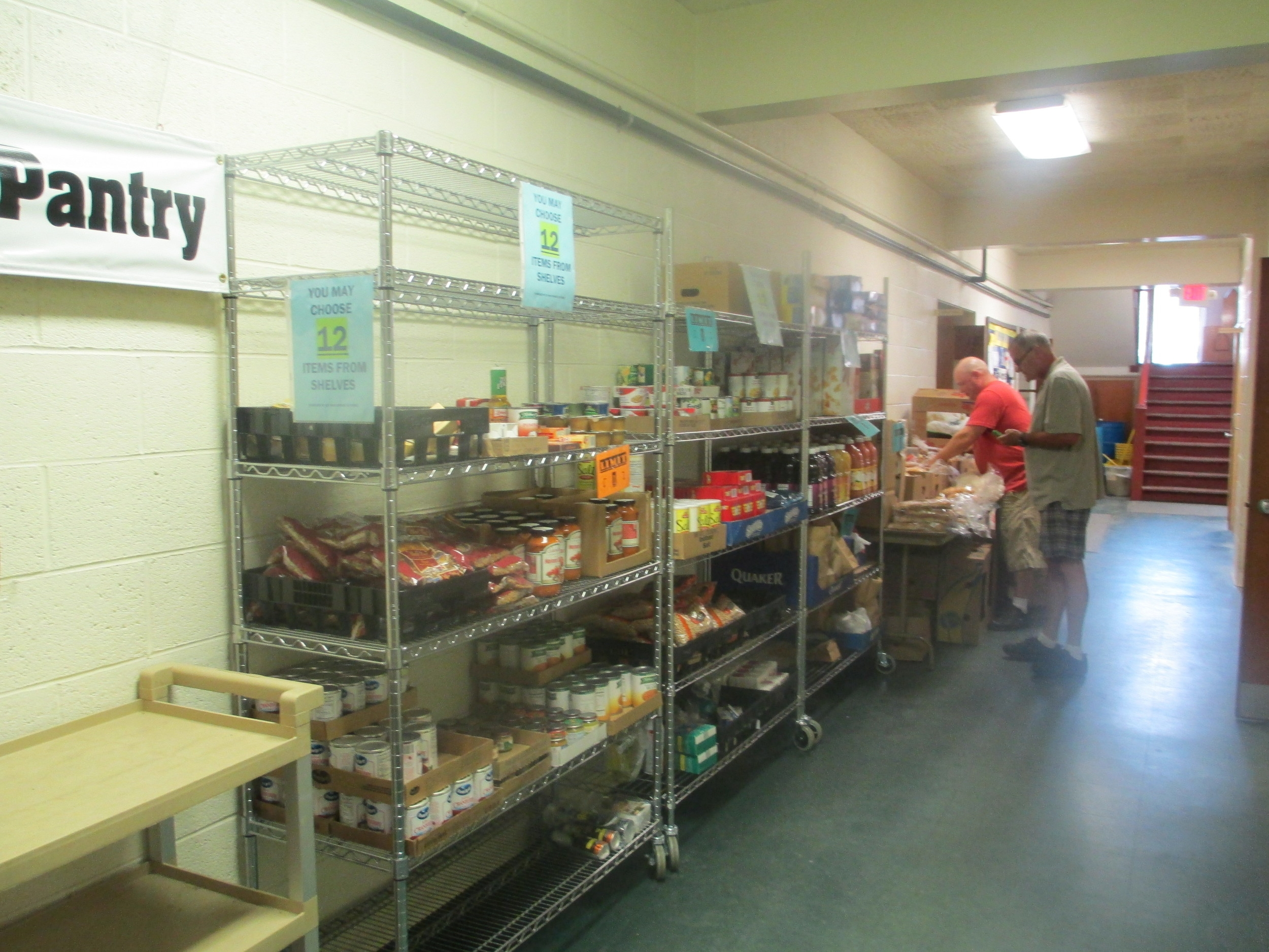 Visitors and Clients are able to select or shop from various selections of food and hygiene supplies.