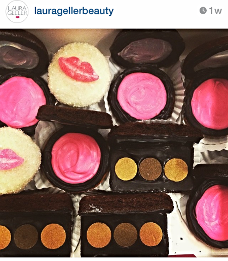 Cupcakes baked for Laura Geller holiday gifting featured on LG Instagram handle.