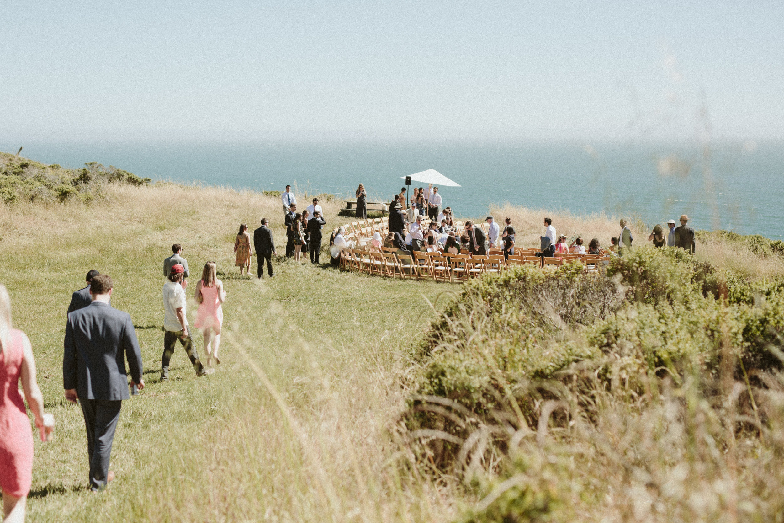 outdoor ocean wedding in california at slide ranch