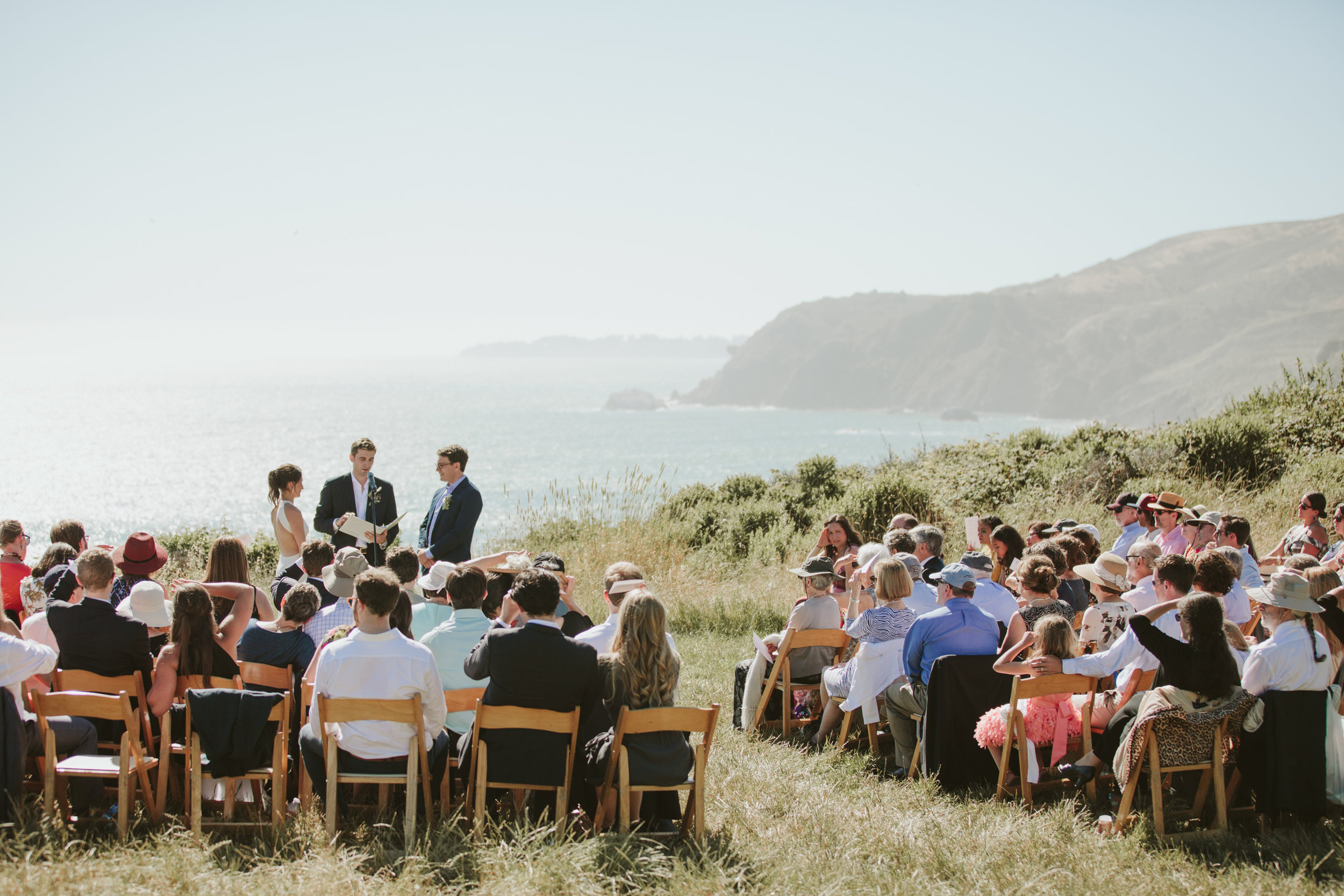 california slide ranch wedding, ocean and mountain backdrop