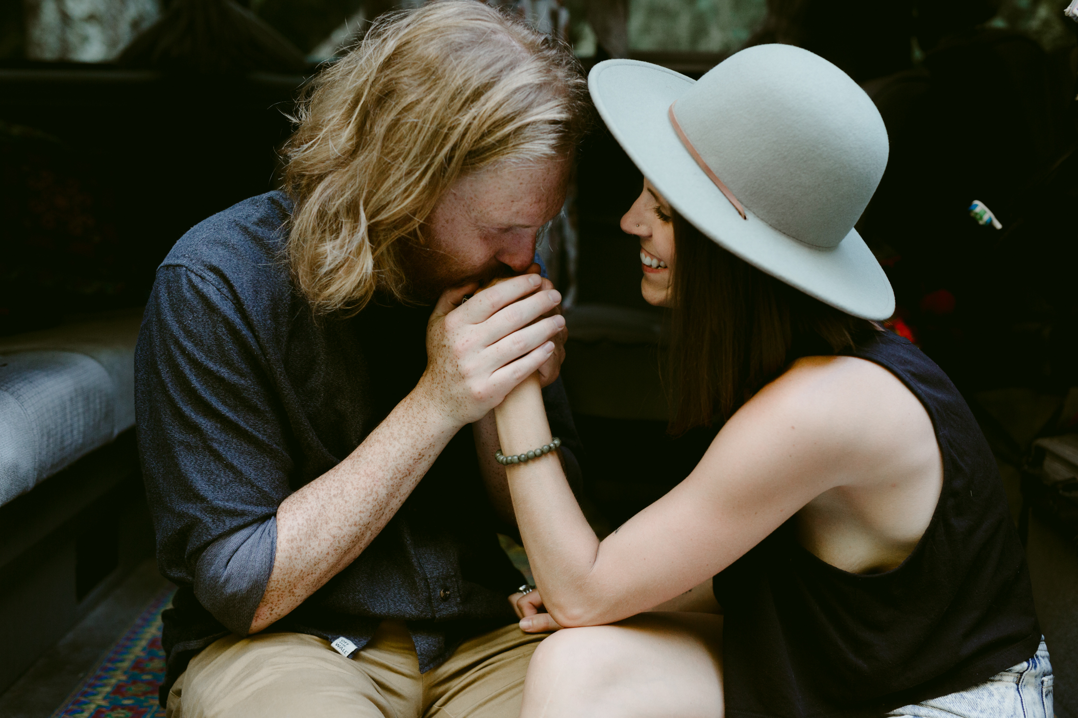 engagement session in a westfalia victoria bc