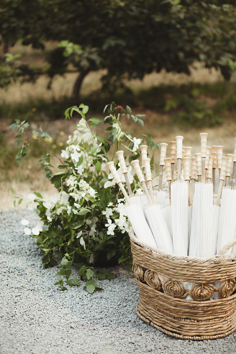 wedding parasols - Sea Cider Wedding Vancouver Island Wedding Photographer