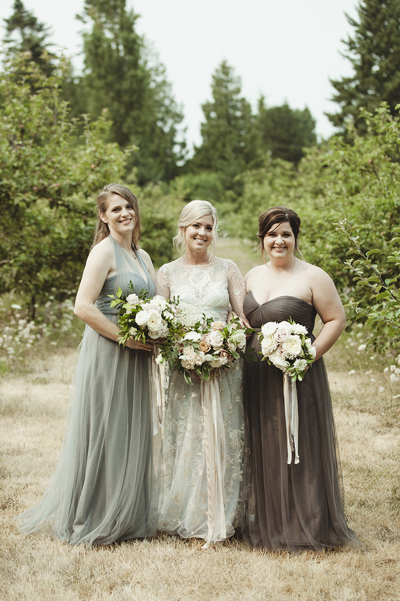 soft blues and browns bridesmaids dresses - Sea Cider Wedding Vancouver Island Wedding Photographer