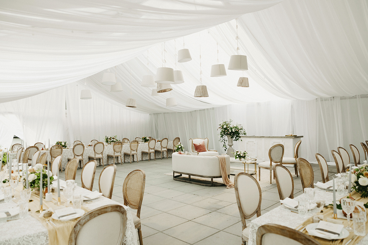 romantic and elegant white tent wedding