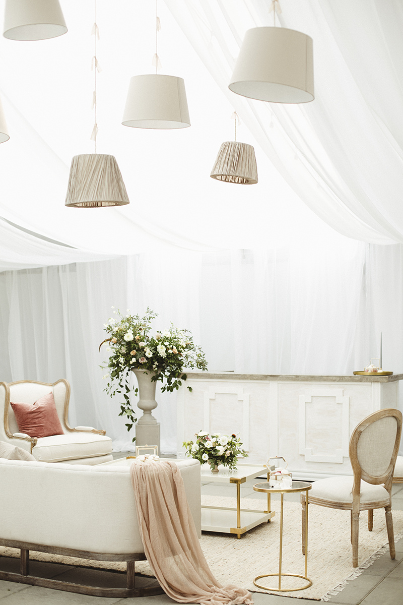 lounge space romantic white tent wedding at sea cider, victoria bc