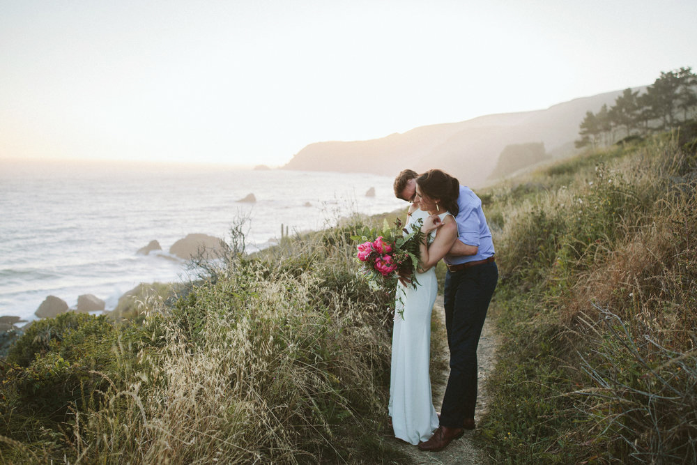 bride and groom at the california coastline, slide ranch wedding