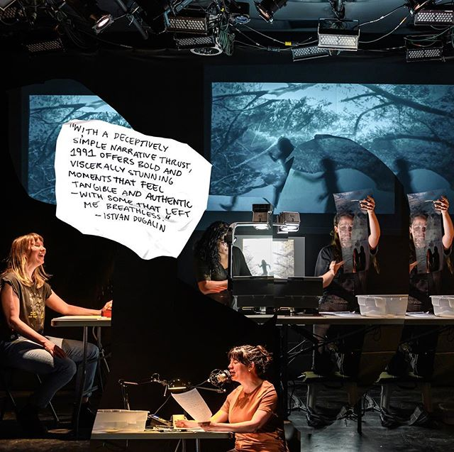 Thank you so much to everyone who came to our opening last night. We're ready for you tonight - see you at 7pm!  Thanks to @dahliakatz for the amazing photos  And @istvandugalin for the beautiful words  WHAT:  1991 WHEN:  MAY 22- JUNE 9 WHERE:  @thetheatrecentre  Written and Directed by @coleilewis Presented by @whynottheatre As part of The Riser Project