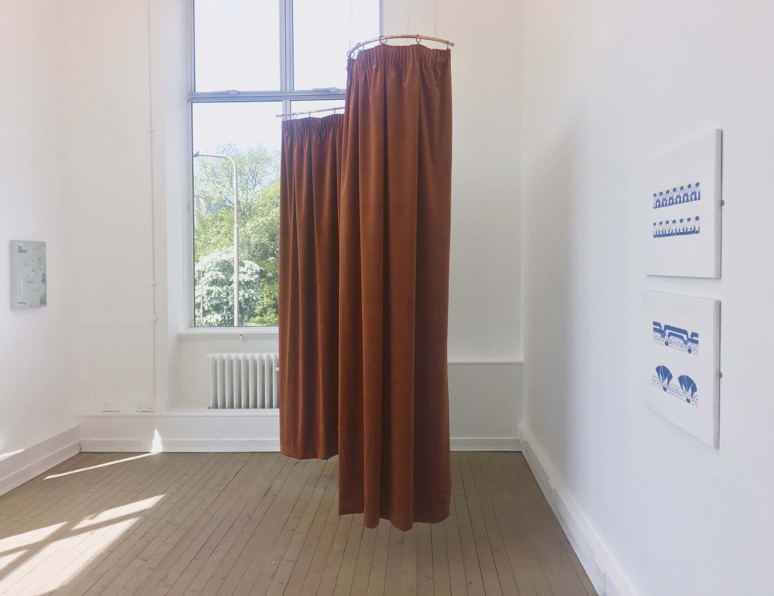Visual Arts Scotland @ Summerhall  Furnishing Velvet and copper tubing with wall mounted drawings.  Summerhall, Edinburgh