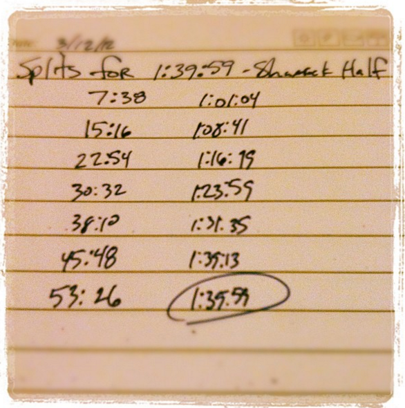 An old Instagram photo where I plotted out going sub 1:40 at Shamrock.