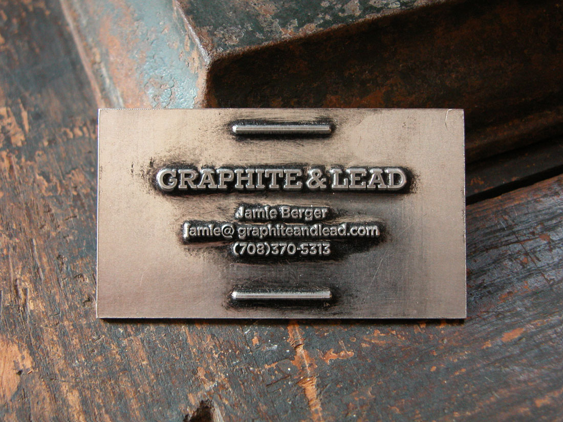 Graphite & Lead metal business card.