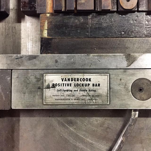 V is for Vandercook.