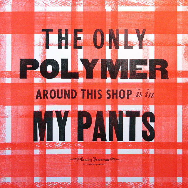 Pants letterpress art print.