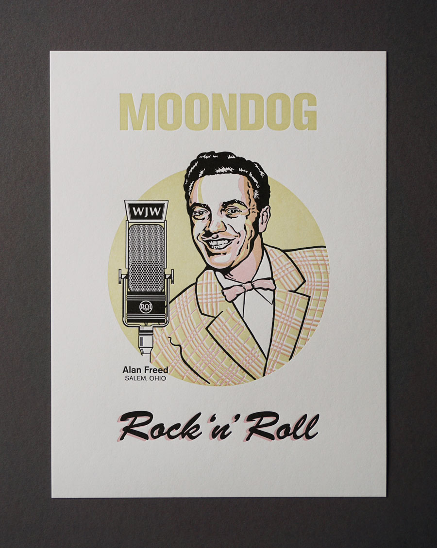 Portrait of DJ Alan Freed, 3-color letterpress print.